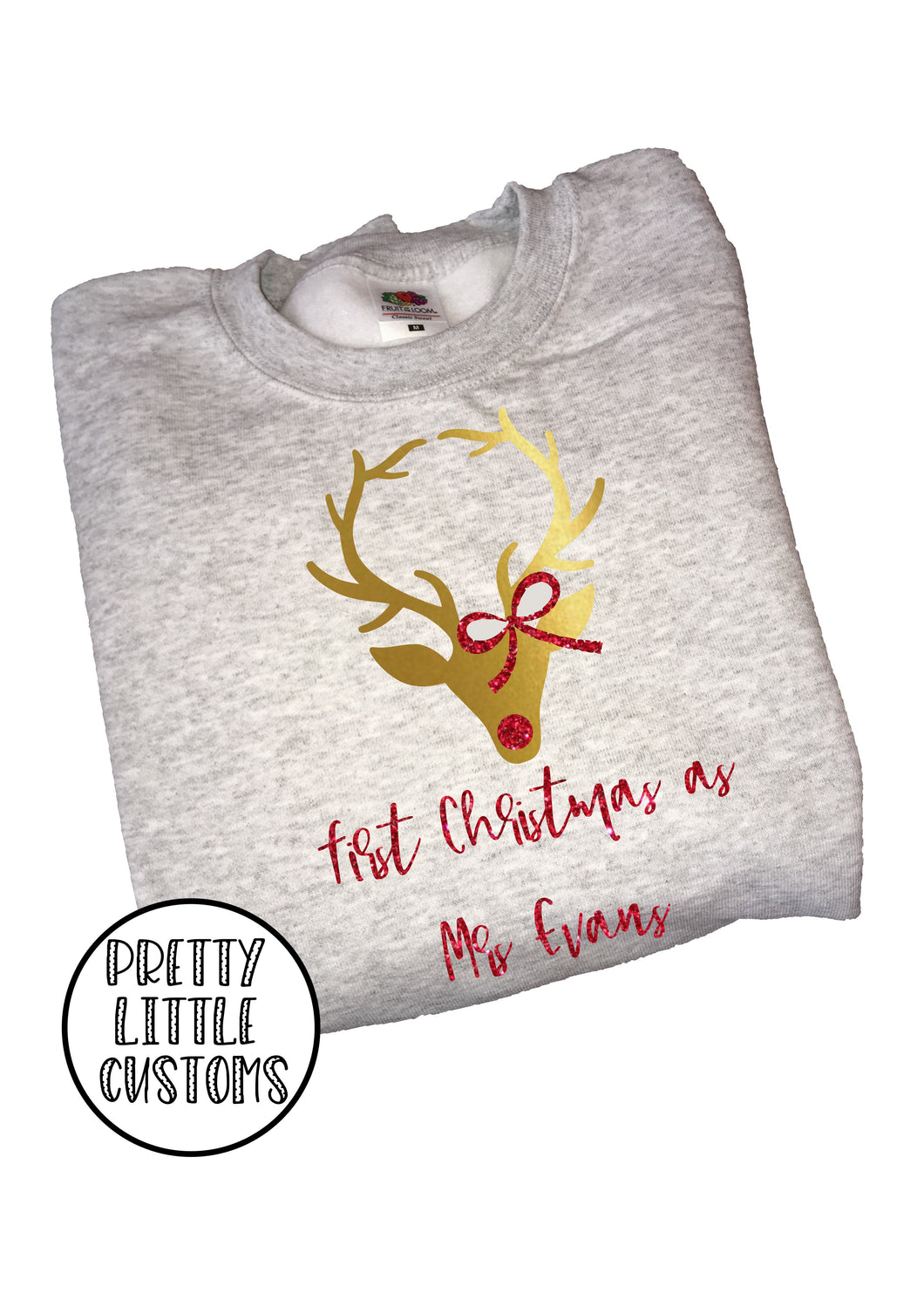 Personalised First Christmas as Mrs (Your Name) glitter print christmas sweater