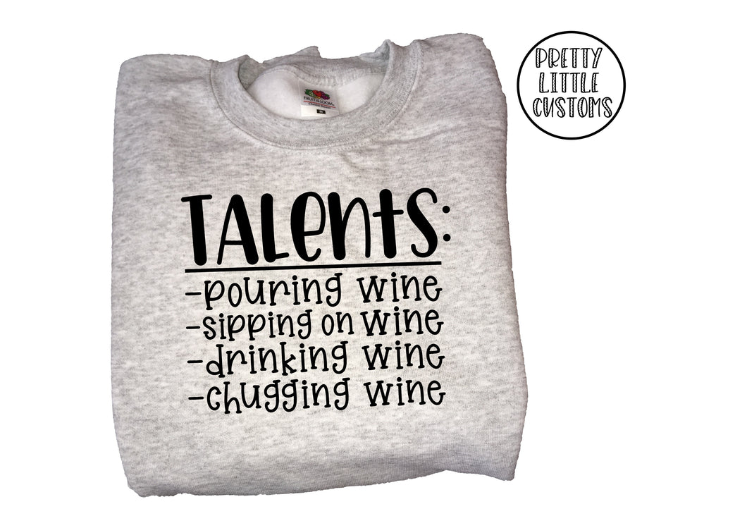 Talents, drinking, pouring, sipping, chugging wine print sweater