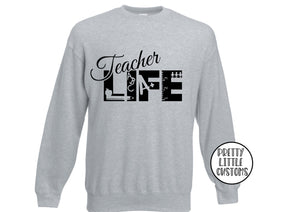Teacher Life print sweater