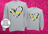 Mummy, Mummy's Mini Heart Print Mother's Day Sweater Set - zebra print