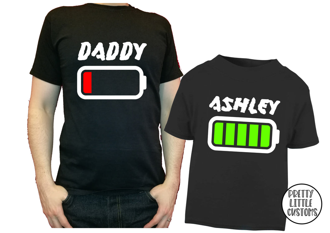 Personalised low / full battery t-shirt set - Father & son/daughter - style 2