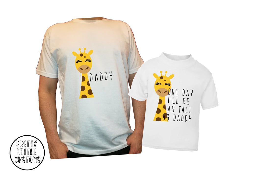 Giraffe - One day I'll be as tall as Daddy t-shirt set - Father & son/daughter