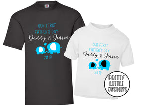 Personalised Our First Father's Day Elephant print t-shirt set - Father & son/daughter - blue