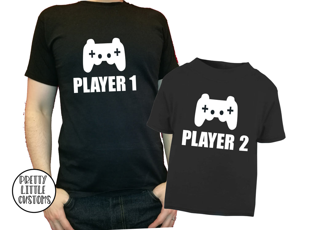 Player 1. Player 2  t-shirt set - Father & son/daughter