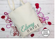 Load image into Gallery viewer, Personalised bridal party name & role glitter print tote bag