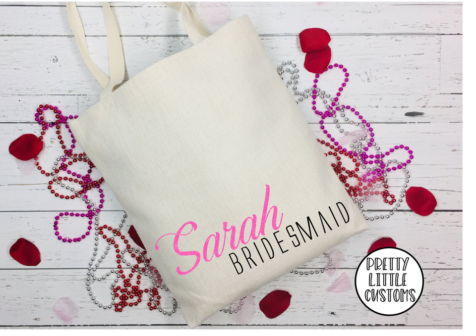 Personalised bridal party name & role glitter print tote bag