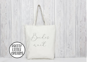 Bridesmaid heart print tote bag