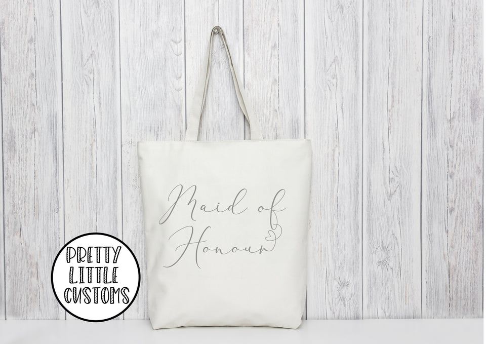 Maid of Honour heart print tote bag