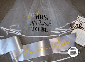Personalised Still Mrs (Your Name) to be #lockdownbride commemorative hen party veil & sash set