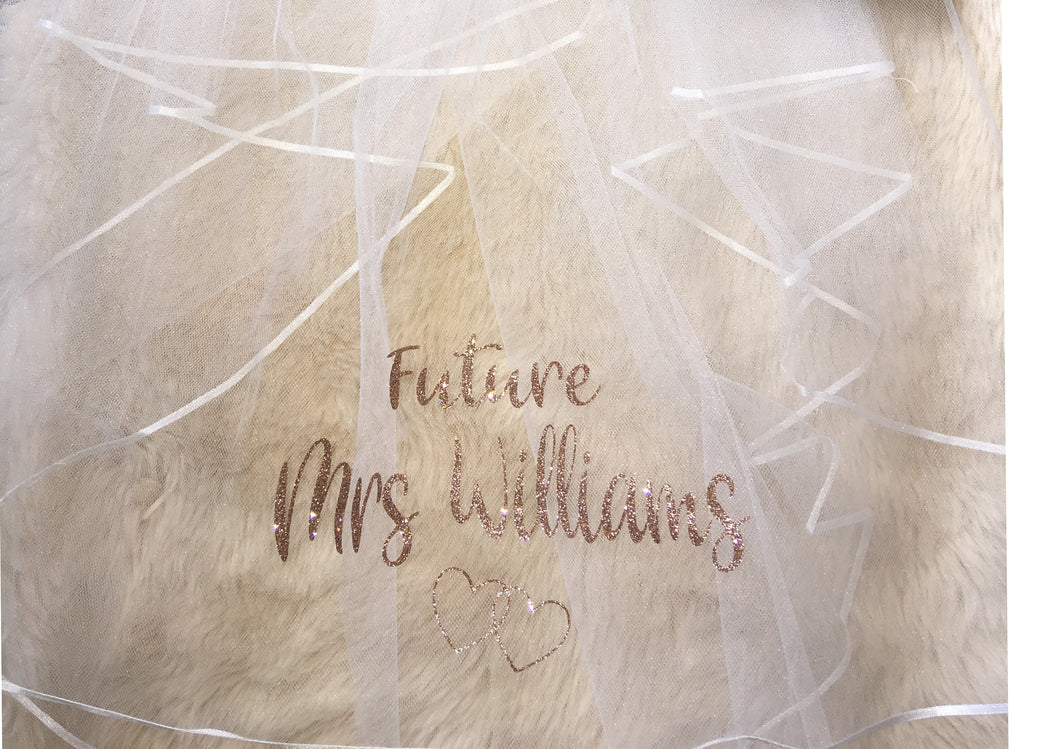 Personalised GLITTER print Future Mrs (Your Name) hen party veil