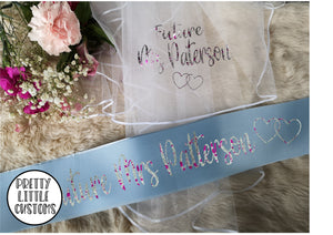 Personalised Future Mrs (Your Name) hen party veil & sash set - SKY BLUE