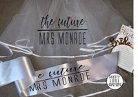 Personalised Future Mrs (Your Name) hen party veil & sash set