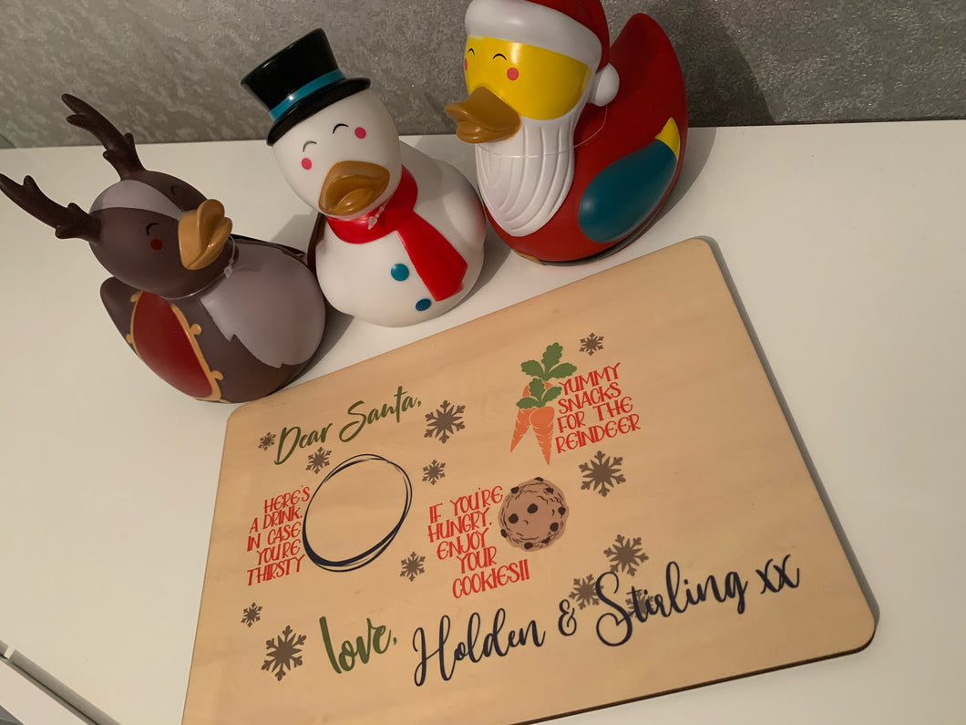 Personalised Christmas Eve Santa treat MDF board/placemat - your name/s