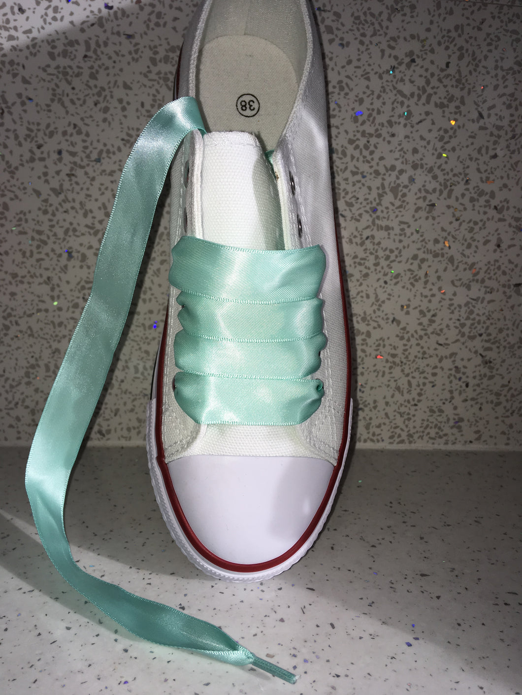 Mint green Ribbon Laces For Canvas Trainers