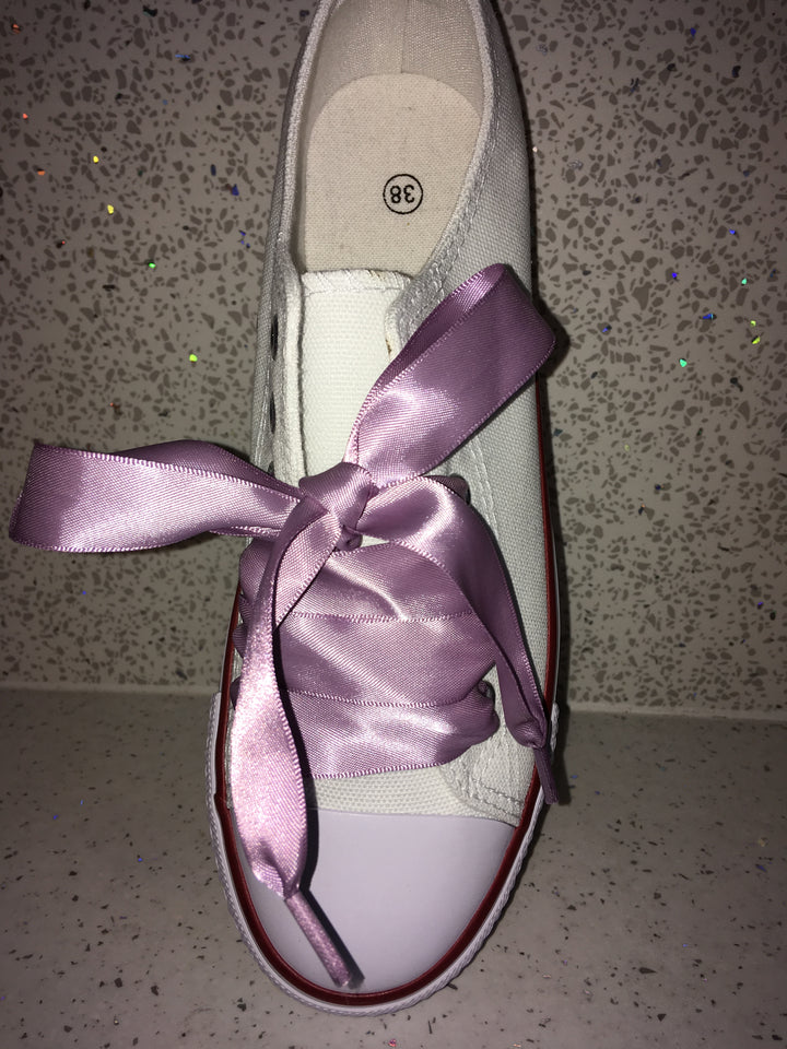 Lilac Ribbon Laces For Canvas Trainers