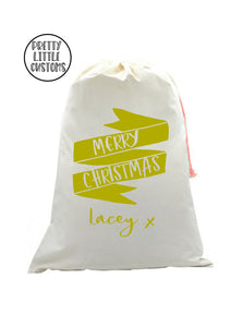 Personalised Christmas Santa Sack- Glitter banner - your name