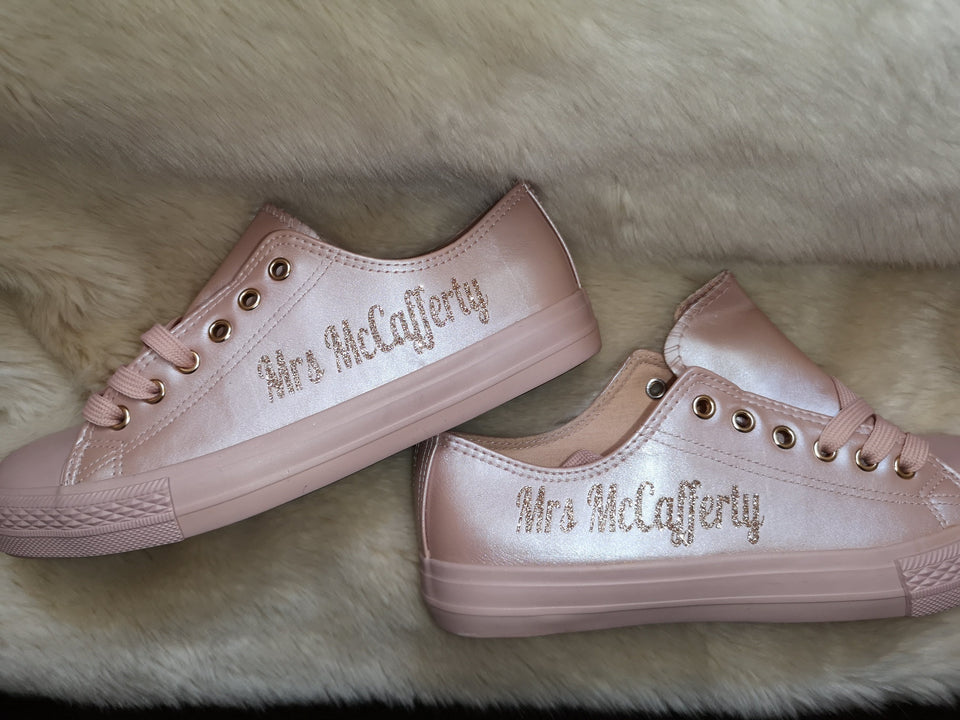 Personalised pale pink PU wedding trainers - Mrs (Your Name) - rose gold glitter print (style 2)