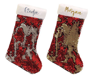 Personalised glitter Christmas Stocking - reversible sequins - silver or gold