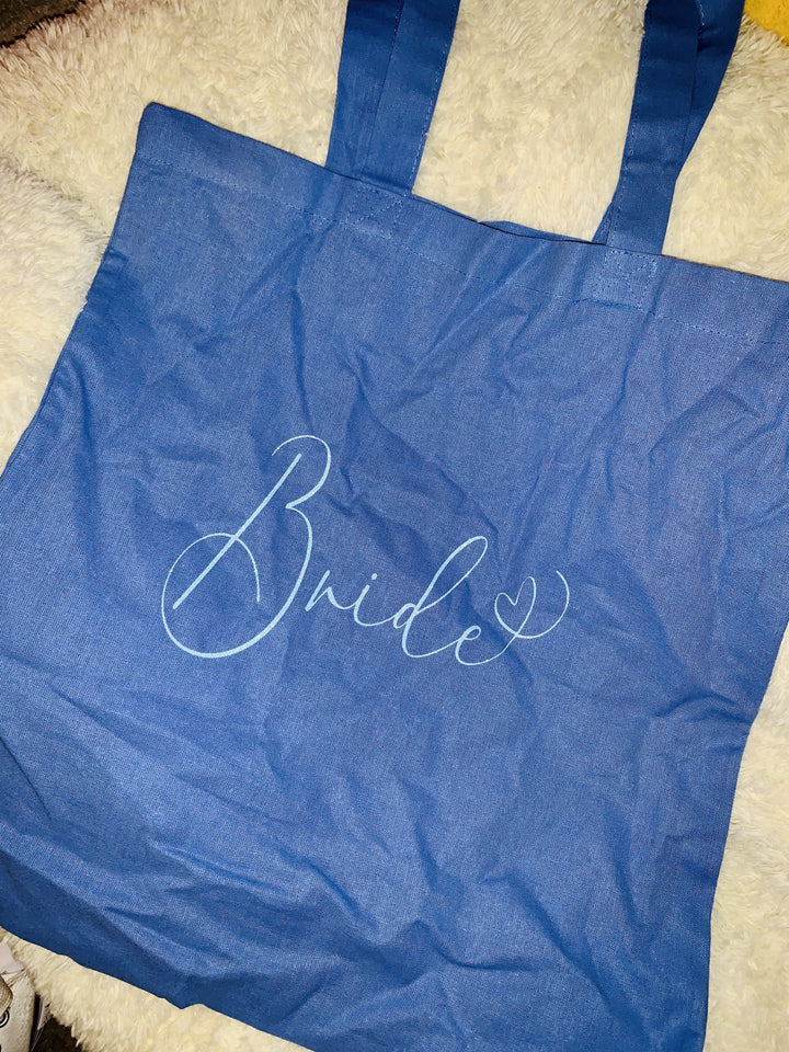 Bridal party role heart glitter print tote bag