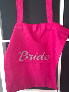 Bridal party role glitter print tote bag