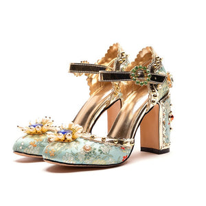 MyGoodyShop Embroidered Gem Heels