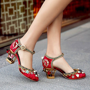 Luxury Floral Gem Studded Heels 496