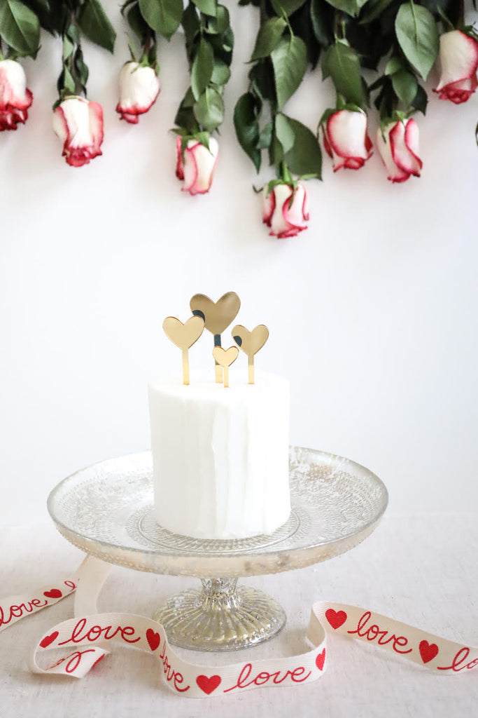 Hearts of Gold Valentine Cake Topper