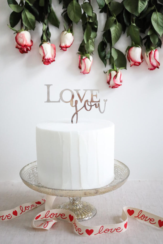 """Love You"" Valentine Cake Topper"