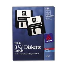 "Avery® 3-1/2"" Diskette Labels - Permanent Adhesive - 2 3/4"" Width x 2 3/4"" Length - Round - Laser, Inkjet - White - 9 / Sheet - 630 / Box"
