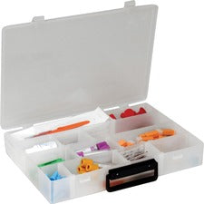 "Infinite Divider Systems Flambeau Inc Infinite Divider System Box with Handle - External Dimensions: 13.5"" Width x 9.5"" Depth x 2.2"" Height - 16 Dividers - Polyethylene - Translucent - For Multipurpose - 1 Each"