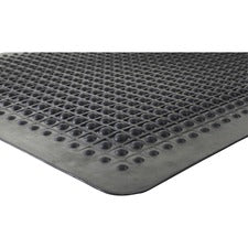"Genuine Joe Flex Step Rubber Anti-Fatigue Mats - Warehouse - 36"" Length x 24"" Width - Rubber - Black"