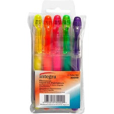 Integra Liquid Highlighters - Fine Marker Point - Chisel Marker Point Style - Assorted - 5 / Set