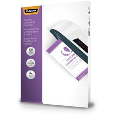 "Fellowes Glossy Pouches - 3 mil, Legal, 100 pack - Sheet Size Supported: Legal - Laminating Pouch/Sheet Size: 9"" Width x 14.50"" Length x 3 mil Thickness - Type G - Glossy - for Document - Durable - Clear - 100 / Pack"