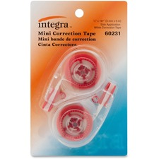 "Integra Resist Tear Correction Tape - 0.20"" Width x 16.40 ft LengthSmoke Dispenser - Tear Resistant - 2 / Pack - Smoke"