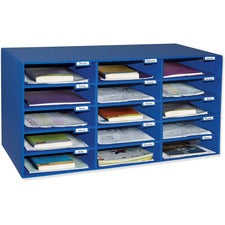"Classroom Keepers 15-Slot Mailbox - 15 Compartment(s) - Compartment Size 3"" x 12.50"" x 10"" - 16.4"" Height x 31.5"" Width x 12.9"" Depth - Recycled - Blue - Cardboard - 1Each"