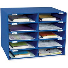"Classroom Keepers 10-Slot Mailbox - 10 Compartment(s) - Compartment Size 3"" x 12.50"" x 10"" - 16.6"" Height x 21"" Width x 12.9"" Depth - Wall Mountable - Recycled - Blue - 1Each"