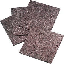 "Quartet Frameless Modular Dark Cork Tiles - 12"" Height x 12"" Width - Brown Cork Surface - Self-stick, Self-healing - 4 / Pack"