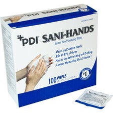 "Sani-Hands ALC Individual Wipes - 5"" x 8"" - White - Anti-septic, Anti-bacterial - For Hand - 100 Quantity Per Box - 100 / Box"