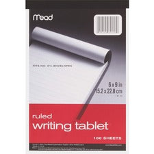 "Mead Plain Writing Tablet - 100 Sheets - 20 lb Basis Weight - 6"" x 9"" - White Paper - 1Each"