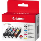 Canon CLI-221 Original Ink Cartridge - Inkjet - Assorted, Cyan, Magenta, Yellow - 4 / Pack