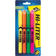 Avery® Pen Style Fluorescent Highlighters - Chisel Marker Point Style - Fluorescent Yellow, Pink, Orange, Green - 4 / Pack
