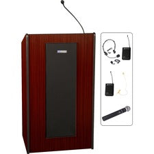"AmpliVox SW450 - Wireless Presidential Plus Lectern - 46.50"" Height x 25.50"" Width x 20.50"" Depth - Assembly Required - Mahogany"