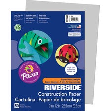 "Riverside Construction Paper - 12"" x 9"" - 50 / Pack - Gray - Groundwood"