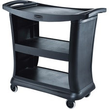 "Rubbermaid Commercial 9T68 Executive Service Cart - 3 Shelf - 300 lb Capacity - Plastic - 38.9"" Length x 20.3"" Width - Black"