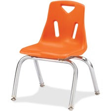 "Jonti-Craft Berries Plastic Chairs with Chrome-Plated Legs - Orange Polypropylene Seat - Steel Frame - Four-legged Base - Orange - 16.5"" Width x 16.5"" Depth x 23.5"" Height - 1 Each"