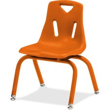 "Jonti-Craft Berries Plastic Chairs with Powder Coated Legs - Orange Polypropylene Seat - Powder Coated Steel Frame - Four-legged Base - Orange - 16.5"" Width x 16.5"" Depth x 23.5"" Height - 1 Each"