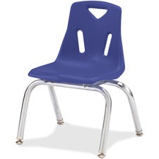 "Jonti-Craft Berries Plastic Chairs with Chrome-Plated Legs - Blue Polypropylene Seat - Steel Frame - Four-legged Base - Blue - 16.5"" Width x 16.5"" Depth x 23.5"" Height - 1 Each"