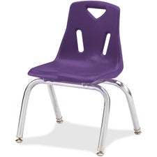 "Berries Stacking Chair - Steel Frame - Four-legged Base - Purple - Polypropylene - 15.5"" Width x 13.5"" Depth x 20"" Height - 1 Each"