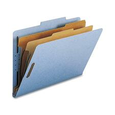 "Nature Saver 2-divider Legal Classifciation Folders - Legal - 8 1/2"" x 14"" Sheet Size - 2"" Fastener Capacity for Folder - 2 Divider(s) - 25 pt. Folder Thickness - Blue - Recycled - 10 / Box"