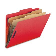 "Nature Saver 2-divider Legal Classifciation Folders - Legal - 8 1/2"" x 14"" Sheet Size - 2"" Fastener Capacity for Folder - 2 Divider(s) - 25 pt. Folder Thickness - Bright Red - Recycled - 10 / Box"